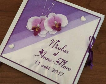 Guestbook wedding personalized and embroidered names theme Orchid purple