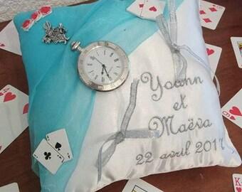 "Wedding ring pillow custom ""Alice in Wonderland country"""