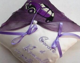 2CV theme wedding ring pillow