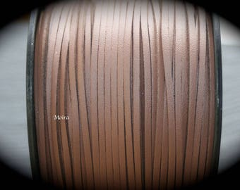 2 metres of cord look chocolate suede leather 3 x 1, 5 m