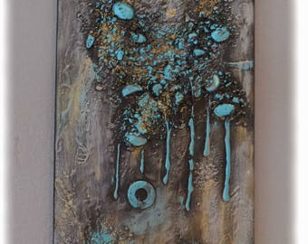 "Turquoise ""steampunk"" acrylic painting 20 x 50"
