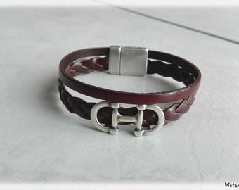 Brown and cognac Brown Leather Bracelet man - 10 mm strap braided 5 mm - magnetic clasp