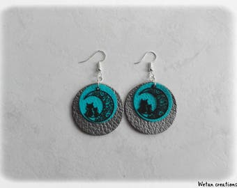Earrings - leather earrings charm/turquoise/black cat