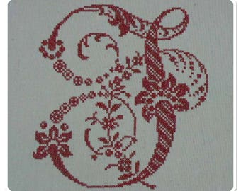 """J"" EMBROIDERY RED CROSS-STITCH MONOGRAMS"