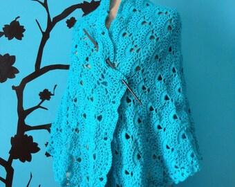 turquoise blue shawl