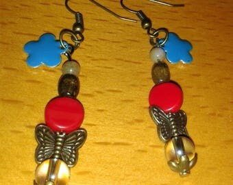 The blue cloud and butterfly earrings