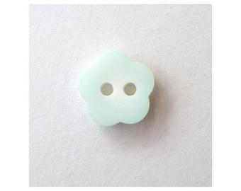 6 x 12mm light green flower buttons - 000189