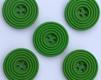 6 x wood Spiral 25 mm buttons: Green - 02280