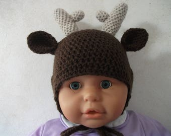 Crochet deer hat size 12 months made of soft Brown and beige