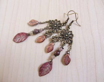 Leaf copper earrings enameled and Czech glass, stone, bronze, Brown metal flower copper iridescent
