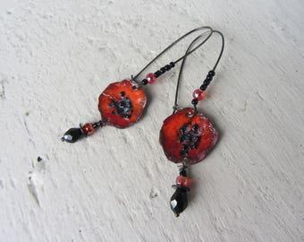Bucolic dangle earrings, red poppy flower enameled copper, black glass beads
