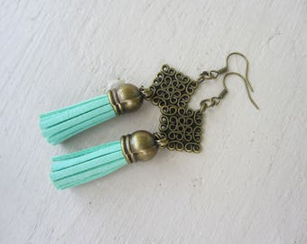 dangle earrings Bohemian bronze metal and suede tassels seagreen, boho Gypsy