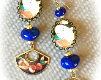 Vintage style Japanese lapis lazuli earrings
