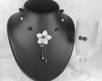 Ornament wedding black-white flower Collection elegant - Laure - wedding party wedding romantic black and white, bride, bridal necklace