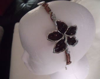 CLEARANCE headband Brown and silver aluminum wire