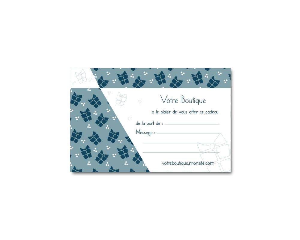carte cadeau recto bleue paquets cadeaux personnalisable. Black Bedroom Furniture Sets. Home Design Ideas