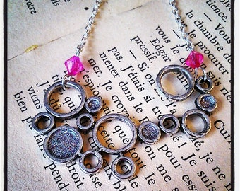 """bubbles"" pendant necklace silver and glittery Silver/Pink"