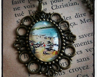 """collar or necklace pendant sea """"in the sand"""""""