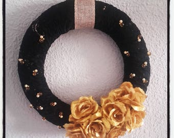 Door wreath, Black Lace, gold flowers and glass beads
