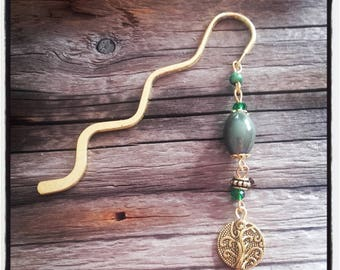 gold charm bookmark khaki beads and gold beads