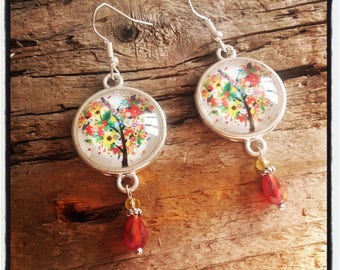 Silver cabochon earrings colorful tree