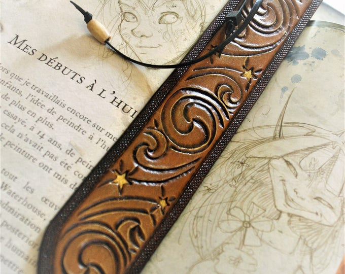 Bookmark bookmark ancient pagan pattern fairy magic tooled leather reading fan gift