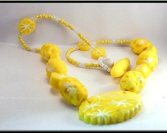Polymer clay lemon necklace