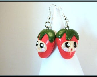 Kawaii Fimo Strawberry earrings.