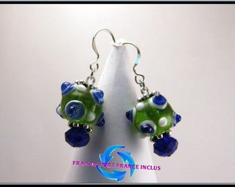 Bead picot lampwork green and blue, Silver 925 stud earrings.