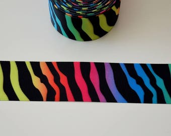 "Ribbon grosgrain ""Zebra"" multicolor 38mm"