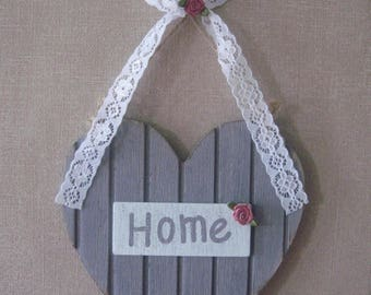 "Free shipping! ""home"" wooden heart shabby style"