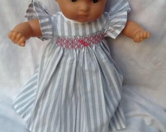 Clothing, dress has gray striped smocked doll 36 cm
