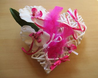 Wedding ring pillow, heart made of rattan, fuchsia and white (Customize colors)