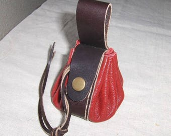 Worn purse wallet leather handmade Red-Brown