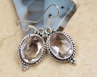 Art Deco style quartz pale pink and Silver 925 earrings