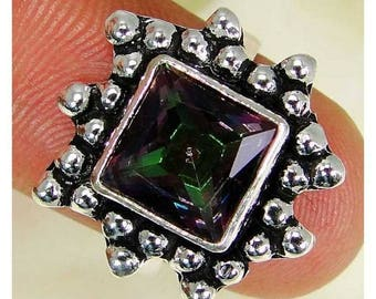 925 sterling silver and mystic Topaz ring size 50