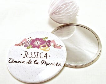 "Mirror personalized wedding 7.5 cm / name + ""Maid of honor"""