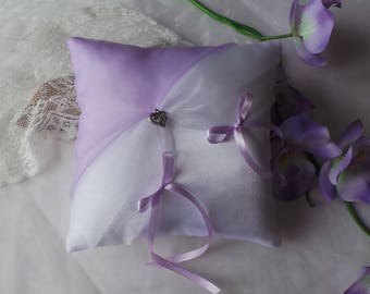 Purple white ring bearer pillow