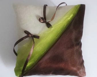 Lime and chocolate organza/linen ring bearer pillow
