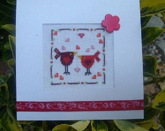 Hand embroidered card: little love birds