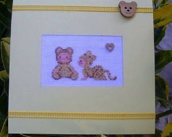 Hand embroidered card: leopard suit babies...