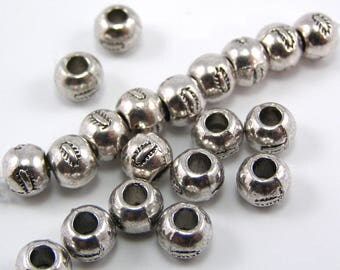 Set of 10 round separator silver Tibetan style beads 7 mm hole 3 mm