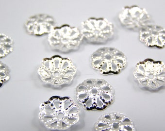 Bead caps filigree 9 x 1.5 mm flower Silver set of 50