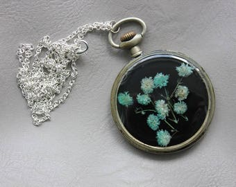 Necklace + genuine watch FOB (5cm), resin and dried baby's breath blue flower