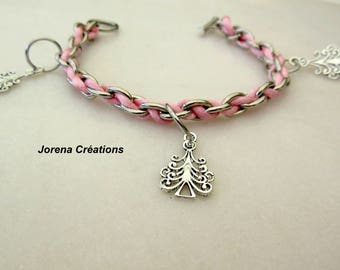Silver chain braided charm bracelet