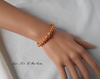 """CHLOE"" wedding bracelet in orange/gold pearl beads"