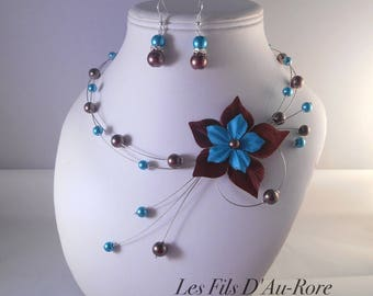 George 2 piece necklace & earrings set in chocolate & turquoise