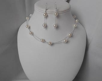 Finery ELA necklace and Pearl dangle earrings