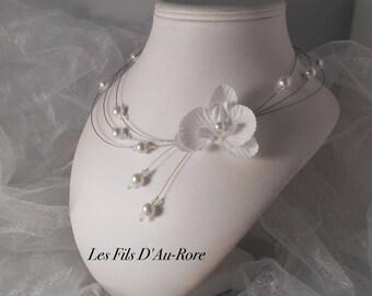 Aurora white bridal necklace