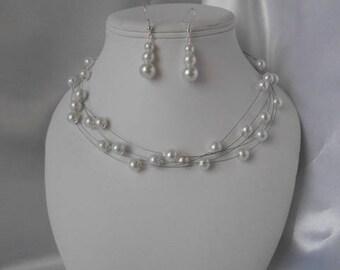 "Ornament wedding 2pcs ""Thomas"" White Pearl beaded Earrings & necklace"